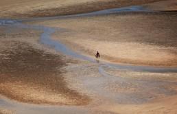 Walker on the sand field, Malaysian Borneo.